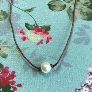 Single Pearl Brown Cord Choker Necklace